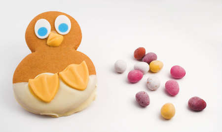 Easter gingerbread chick with miniature chocolate eggs