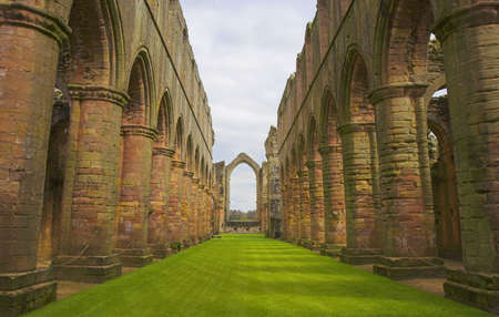 Ruins of Fountains Abbey in Ripon, Yorkshire, England.