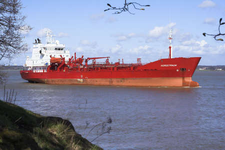 Oil tanker travelling down the River Mersey
