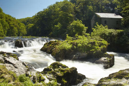 Cenarth Falls in Pembrokeshire, Wales. 版權商用圖片