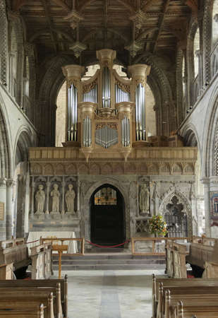 Interior of St Davods Cathedral in South Wales