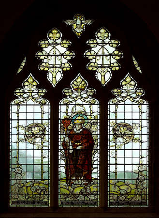st: Stained Glass Window at St Davods Cathedral in South Wales