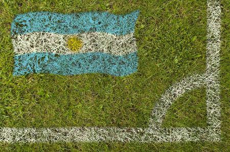 Flag of Argentina painted on football pitch 版權商用圖片
