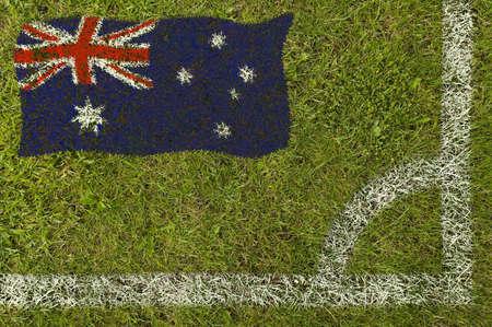 Flag of Australia painted on football pitch 版權商用圖片