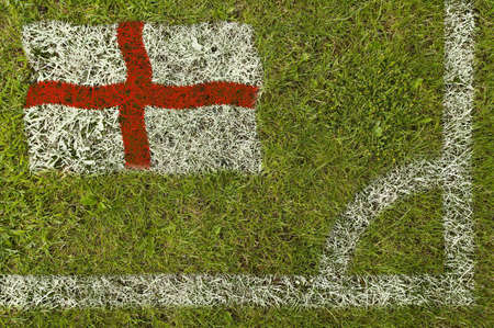 Flag of England painted on football pitch