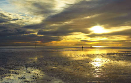 Crosby Beach. With a beautiful sunset. 版權商用圖片