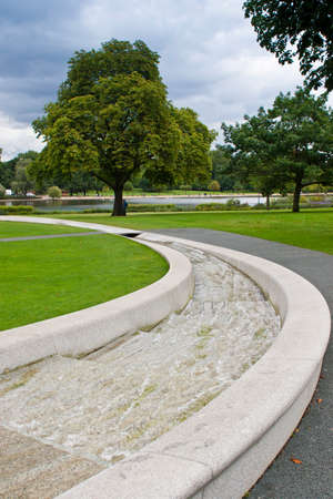 The Princess Diana Memorial Fountain in Hyde Park, London.