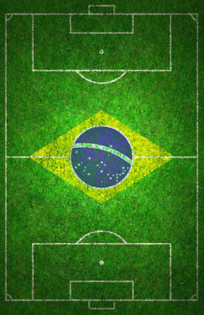 Football pitch with Brazil flag.