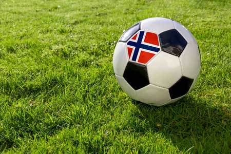 Football on a grass pitch with Norway Flag