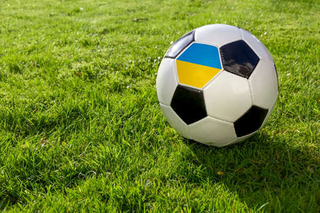 Football on a grass pitch with Ukraine Flag