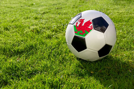 Football on a grass pitch with Wales Flag