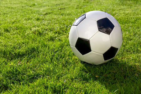 Black and White Football on a Grass Pitch