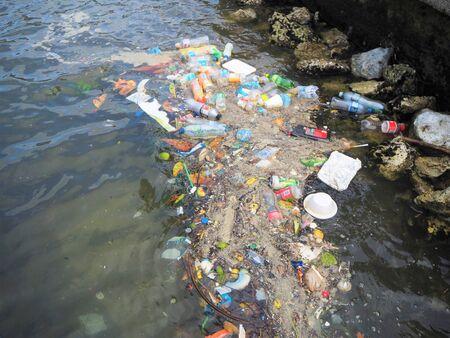 plastic waste in the ocean and the sea Banco de Imagens