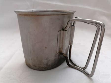 An old steel or tin army mug - crusader cup