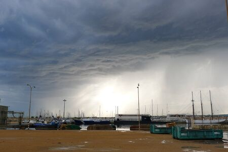 severe weather: Severe weather front at the port