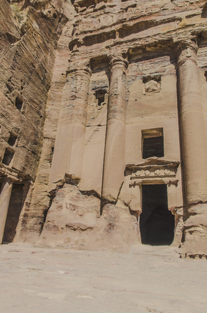 landscapes and canyons of the abandoned city of Petra in Jordan