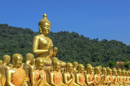 An outdoor temple with 1250 buddha images, alms-bowls of important Figure and one Large Buddha lord image.