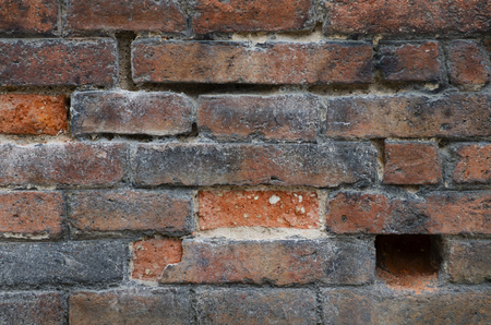 Dirty red vintage brick wall with shabby structure. Horizontal brickwall background. Grungy brick wall texture. Retro house facade. Stock Photo