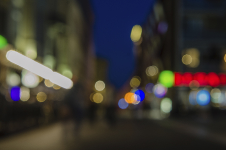 city shed on the background of the night bokeh. Out of focus image of the evening city Stockfoto
