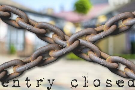 Chain isolated on colorful background. entry closed