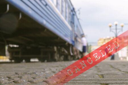 train carriage on platform and the inscription canceled, toned Banco de Imagens