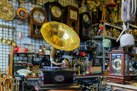 BARCELONA, SPAIN - MAY 09, 2018. Antiquary dealer shop in Barcelona.