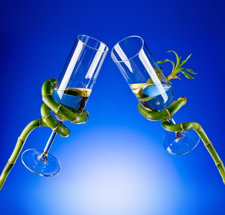 a pair of glasses in the branches of plants Stock Photo - 17379149