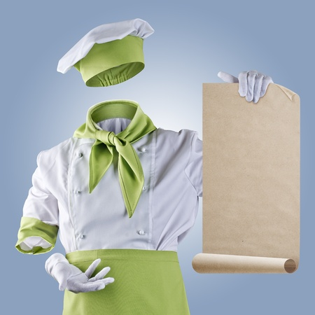 invisible chef shows the menu on a blue background