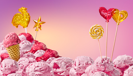 sweet magical landscape of ice cream and candy