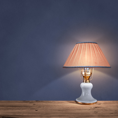 table lamp: vintage table lamp on blue background