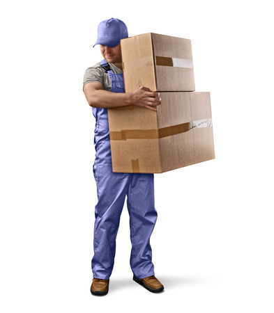 man carrying box: delivery man in green uniform holding a box on a white isolated background