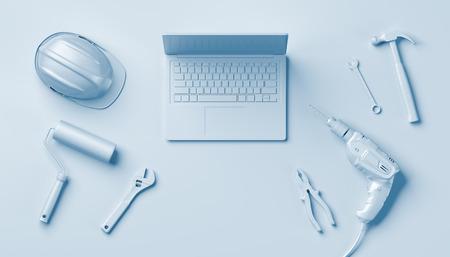 作図ツール、ヘルメットやノート パソコン、白い背景の 3 D イラストレーション