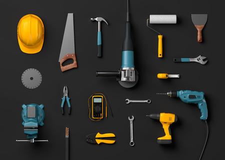 herramientas de carpinteria: casco, taladro, amoladora angular y herramientas de construcción sobre un fondo negro aislado