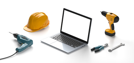 mastery: laptop, helmet, drill and construction tools on a white isolated background