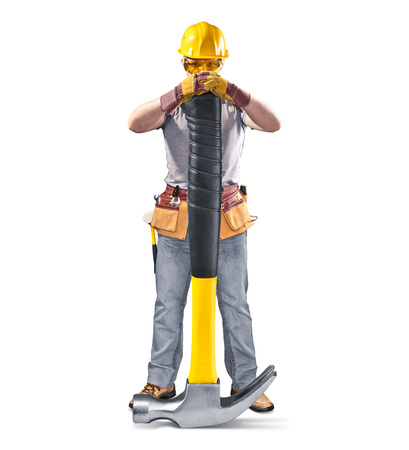 construction worker in helmet with tool and hammer on white isolated background