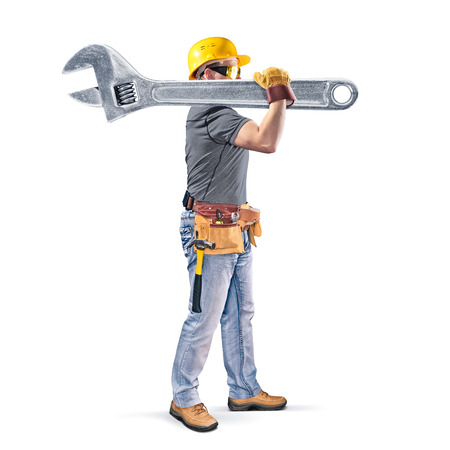 mounter: construction worker with tool belt and wrench on white background