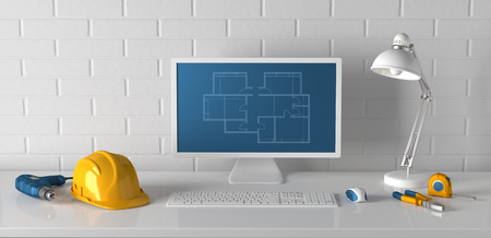 web sites: computer, table lamp, helmet and construction tools on a background of white brick wall