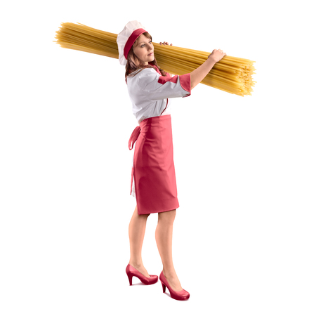 cook girl with large delicious spaghetti on white isolated background
