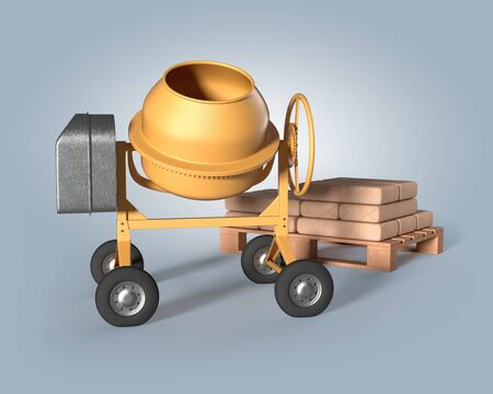 concrete mixer and pallet of raw materials on an isolated background