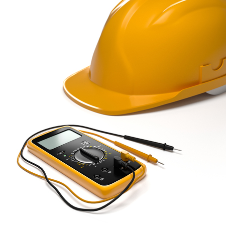 digital multimeter and helmet on white isolated background Stock Photo