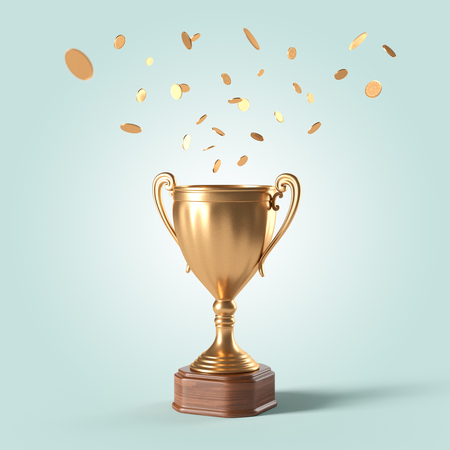 gold cup and rain of coins on an isolated background
