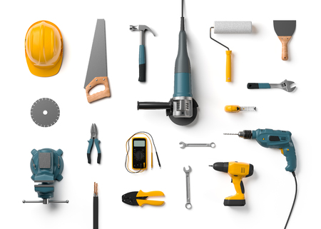 top angle view: helmet, drill, angle grinder and other construction tools on a white background isolated Stock Photo