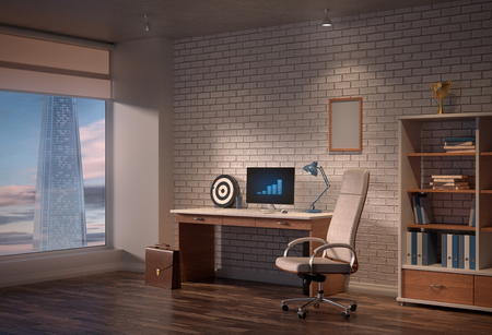 office interior with armchair businessman, briefcases, computer and skyscraper outside, 3D render
