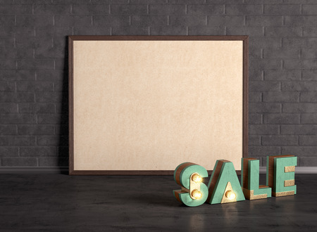poster with sale word on the brick wall background 3D