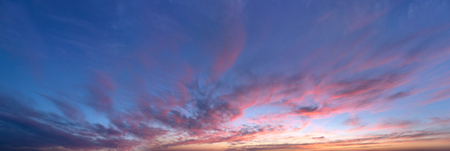 sunset clouds: sky panorama, sunset with clouds and sun