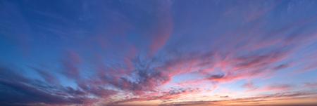 sky panorama, sunset with clouds and sun