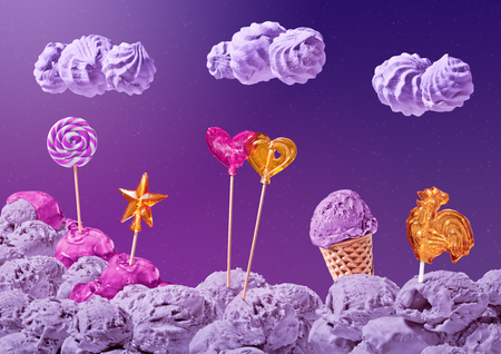 sweet landscape of ice cream and candy on the background of the night sky with stars and clouds Stock Photo