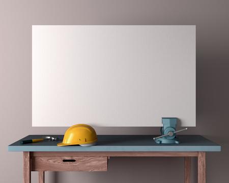 carpenter vise: work table, helmet and carpentry vises on empty wall background, 3D render