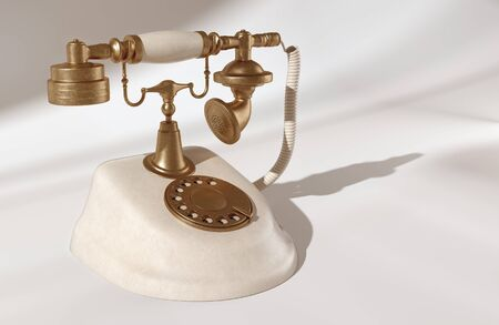 vintage phone isolated on white background