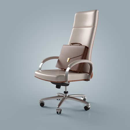 white office chair and briefcase businessman on an isolated background